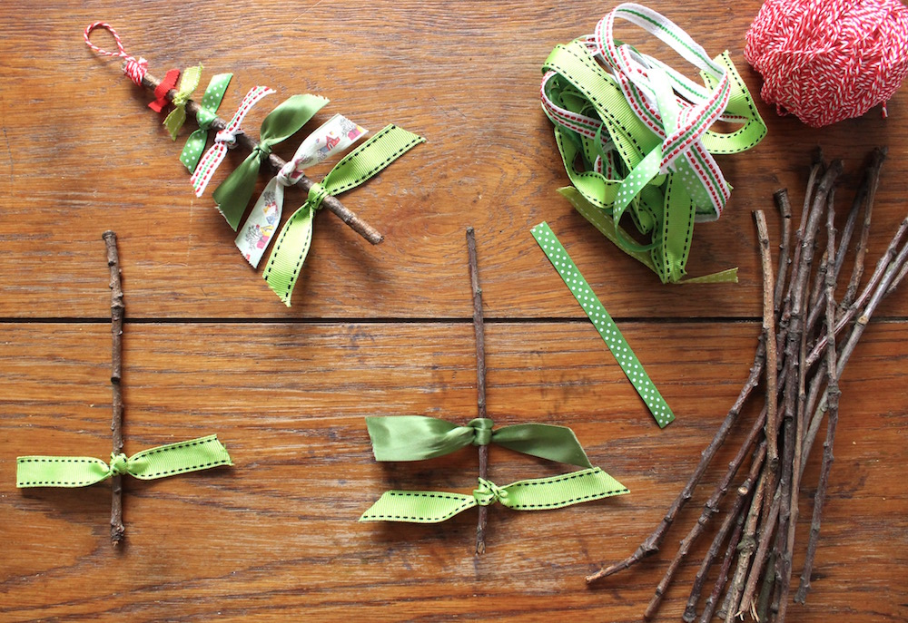 ribbon and stick christmas trees