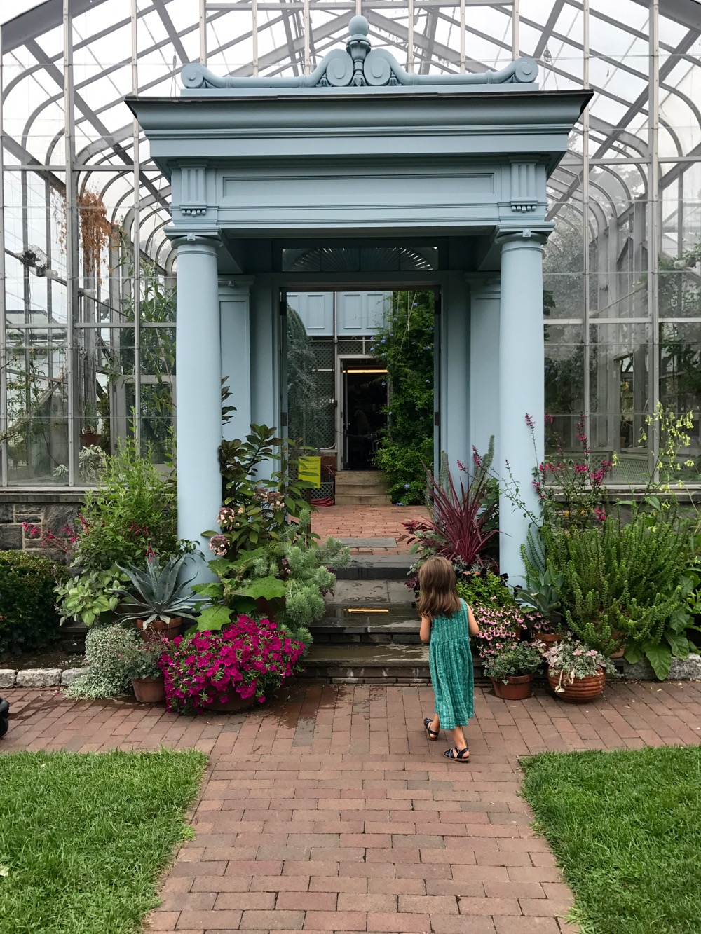 entrance to Marco Polo Stufano Conservatory at Wave Hill
