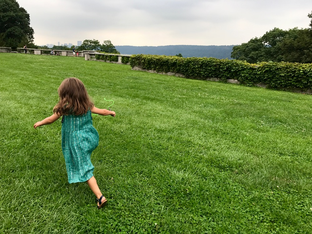 running on the Lower Lawn at Wave Hill